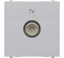 Розетка TV простая, широкая,  Zenit серебро