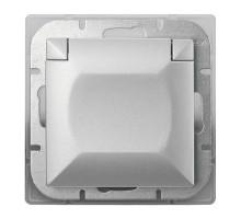Розетка одинарная с з/к гермет. IP44 кр. сербна Abex Perla 250V/16A PT-17PH серебро
