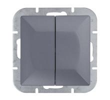 Выключатель 2-кл., с подсв, Abex Perla 250V/10A WP-2PS антрацит