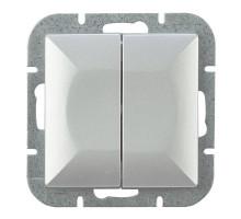 Выключатель 2-кл., Abex Perla 250V/10A WP-2P серебро
