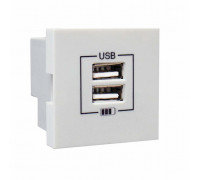 Розетка двойная зарядка USB белая 45439 SBR