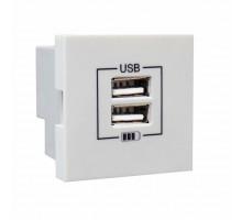 Розетка двойная зарядка USB алюминий