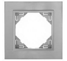 Рамка одинарная универсальная LOGUS металик алюминиевый