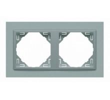 Рамка двойная ANIMATO металик алюминиевый