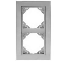Рамка двойная универсальная LOGUS металик алюминиевый