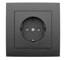 Розетка одинарная с заземлением, LOGUS, 21131 в комплекте с накладкой и рамкой одинарной универсальная LOGUS металик графит 90910 TIS