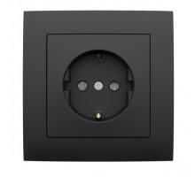 Розетка одинарная с заземлением, LOGUS, 21131 в комплекте с накладкой и рамкой одинарной универсальная LOGUS черный матовый 90910 TPM