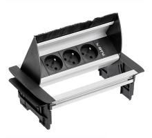 Поворотный блок GTV без корпуса со щеткой на 3 розетки French алюминий