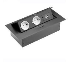 Розеточный блок GTV на 2 розетки + 2 USB Schuco черный