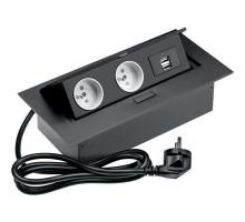Розеточный блок GTV на 2 розетки + 2 USB French черный