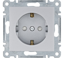 Розетка Hager Lumina  с з/к 16А, 250V  c защитными шторками серебро WL1062