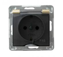 Розетка одинарная, с крышкой, 250V/16A IP-44 OSPEL IMPRESJA золото