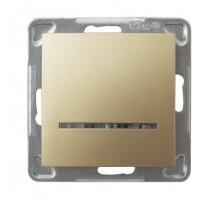 Выключатель 1-клавишный,  с подсветкой, 250V/16A OSPEL IMPRESJA золото