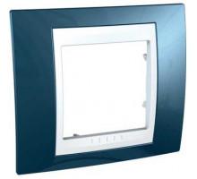 Рамка, 1-местная Unica Plus, голубой лёд/белый