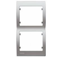 Рамка двойная вертикальная SIEMENS IRIS Алюминий Меркурий