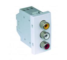 Розетка RCA с 3 выходами - 1 модульна 45580 SBR Efapel Quadro 45