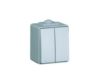 Выключатель двухклавишный наружный влагозащищенный IP65 Efapel Waterproof48 16А/250В серый (48061 CCZ)