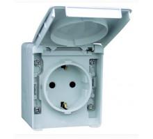 Розетка уличная наружная влагозащищенная с крышкой IP65 Efapel Waterproof48 16А/250В Shuko серая (48131 CCZ)