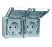 Модуль из двух розеток с крышкой наружный IP65 Efapel Waterproof48 16А/250В Shuko серый (48862 CCZ)